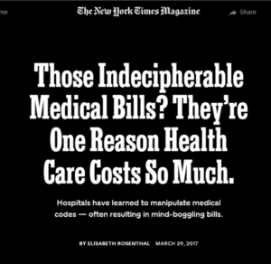 "Screenshot of New York Times piece on ""guerrilla coding"" and medical costs"